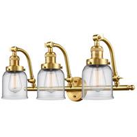 Innovations Lighting 515-3W-SG-G52-LED Small Bell LED 28 inch Satin Gold Bath Vanity Light Wall Light, Franklin Restoration