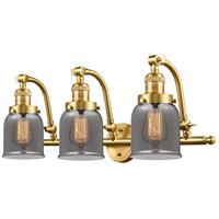 Innovations Lighting 515-3W-SG-G53-LED Small Bell LED 28 inch Satin Gold Bath Vanity Light Wall Light Franklin Restoration