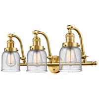 Innovations Lighting 515-3W-SG-G54-LED Small Bell LED 28 inch Satin Gold Bath Vanity Light Wall Light Franklin Restoration