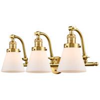 Innovations Lighting 515-3W-SG-G61-LED Small Cone LED 28 inch Satin Gold Bath Vanity Light Wall Light Franklin Restoration