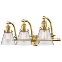 Innovations Lighting 515-3W-SG-G62-LED Small Cone LED 28 inch Satin Gold Bath Vanity Light Wall Light Franklin Restoration