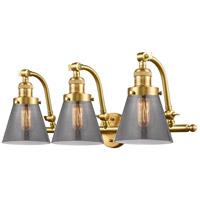 Innovations Lighting 515-3W-SG-G63-LED Small Cone LED 28 inch Satin Gold Bath Vanity Light Wall Light, Franklin Restoration