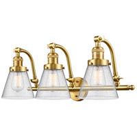 Innovations Lighting 515-3W-SG-G64-LED Small Cone LED 28 inch Satin Gold Bath Vanity Light Wall Light Franklin Restoration