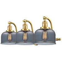 Innovations Lighting 515-3W-SG-G73-LED Large Bell LED 28 inch Satin Gold Bath Vanity Light Wall Light Franklin Restoration