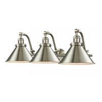 Innovations Lighting 515-3W-SN-M10-SN Briarcliff 3 Light 28 inch Satin Nickel Bath Vanity Light Wall Light Franklin Restoration