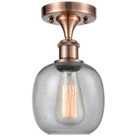 Innovations Lighting 516-1C-AC-G104-LED Belfast LED 6 inch Antique Copper Semi-Flush Mount Ceiling Light, Ballston