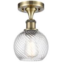 Innovations Lighting 516-1C-AB-G1214-8-LED Twisted Swirl LED 8 inch Antique Brass Semi-Flush Mount Ceiling Light, Ballston