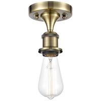 Innovations Lighting 516-1C-AB-LED Bare Bulb LED 5 inch Antique Brass Semi-Flush Mount Ceiling Light, Ballston