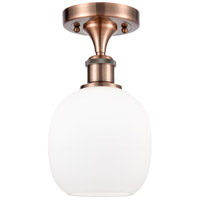 Innovations Lighting 516-1C-AC-G101-LED Belfast LED 6 inch Antique Copper Semi-Flush Mount Ceiling Light, Ballston