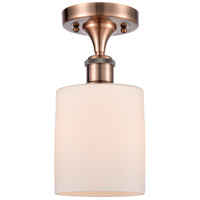 Innovations Lighting 516-1C-AC-G111 Cobbleskill 1 Light 5 inch Antique Copper Semi-Flush Mount Ceiling Light, Ballston