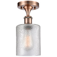Innovations Lighting 516-1C-AC-G112 Cobbleskill 1 Light 5 inch Antique Copper Semi-Flush Mount Ceiling Light, Ballston