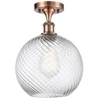 Innovations Lighting 516-1C-AC-G1214-10 Large Twisted Swirl 1 Light 10 inch Antique Copper Semi-Flush Mount Ceiling Light Ballston