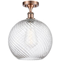 Innovations Lighting 516-1C-AC-G1214-12-LED X-Large Twisted Swirl LED 12 inch Antique Copper Semi-Flush Mount Ceiling Light Ballston