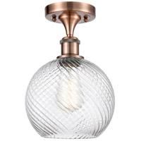 Innovations Lighting 516-1C-AC-G1214-8 Twisted Swirl 1 Light 8 inch Antique Copper Semi-Flush Mount Ceiling Light Ballston