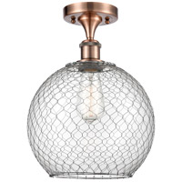 Innovations Lighting 516-1C-AC-G122-10CSN Large Farmhouse Chicken Wire 1 Light 10 inch Antique Copper Semi-Flush Mount Ceiling Light, Ballston