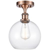 Innovations Lighting 516-1C-AC-G122 Athens 1 Light 8 inch Antique Copper Semi-Flush Mount Ceiling Light Ballston