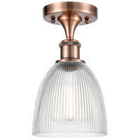 Innovations Lighting 516-1C-AC-G382-LED Castile LED 6 inch Antique Copper Semi-Flush Mount Ceiling Light, Ballston