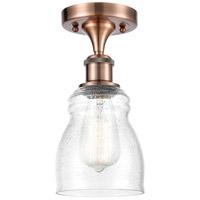 Innovations Lighting 516-1C-AC-G394-LED Ellery LED 5 inch Antique Copper Semi-Flush Mount Ceiling Light Ballston
