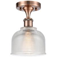 Innovations Lighting 516-1C-AC-G412-LED Dayton LED 6 inch Antique Copper Semi-Flush Mount Ceiling Light Ballston