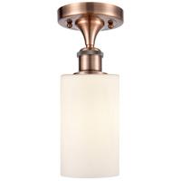 Innovations Lighting 516-1C-AC-G801 Clymer 1 Light 4 inch Antique Copper Semi-Flush Mount Ceiling Light, Ballston