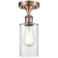 Innovations Lighting 516-1C-AC-G802 Clymer 1 Light 4 inch Antique Copper Semi-Flush Mount Ceiling Light Ballston