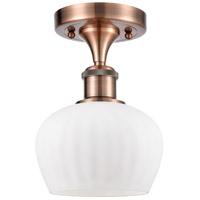 Innovations Lighting 516-1C-AC-G91-LED Fenton LED 7 inch Antique Copper Semi-Flush Mount Ceiling Light Ballston
