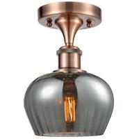 Innovations Lighting 516-1C-AC-G93-LED Fenton LED 7 inch Antique Copper Semi-Flush Mount Ceiling Light Ballston