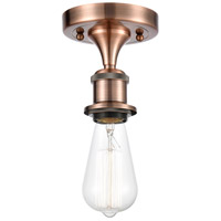Innovations Lighting 516-1C-AC-LED Bare Bulb LED 5 inch Antique Copper Semi-Flush Mount Ceiling Light, Ballston