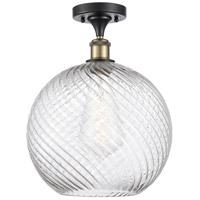 Innovations Lighting 516-1C-BAB-G1214-12-LED X-Large Twisted Swirl LED 12 inch Black Antique Brass Semi-Flush Mount Ceiling Light Ballston