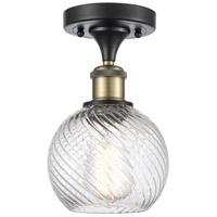 Innovations Lighting 516-1C-BAB-G1214-6-LED Small Twisted Swirl LED 6 inch Black Antique Brass Semi-Flush Mount Ceiling Light Ballston