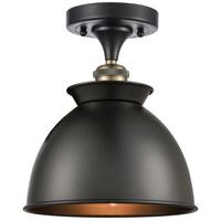 Innovations Lighting 516-1C-BAB-M14-BK-LED Adirondack LED 9 inch Black Antique Brass Semi-Flush Mount Ceiling Light, Ballston