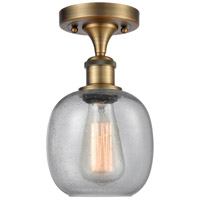 Innovations Lighting 516-1C-BB-G104-LED Belfast LED 6 inch Brushed Brass Semi-Flush Mount Ceiling Light, Ballston