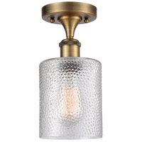 Innovations Lighting 516-1C-BB-G112-LED Cobbleskill LED 5 inch Brushed Brass Semi-Flush Mount Ceiling Light, Ballston