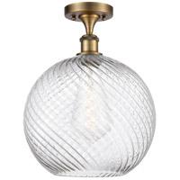 Innovations Lighting 516-1C-BB-G1214-12-LED X-Large Twisted Swirl LED 12 inch Brushed Brass Semi-Flush Mount Ceiling Light Ballston