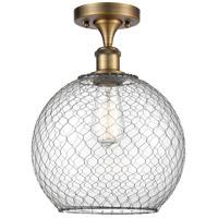 Innovations Lighting 516-1C-BB-G122-10CBK-LED Large Farmhouse Chicken Wire LED 10 inch Brushed Brass Semi-Flush Mount Ceiling Light, Ballston
