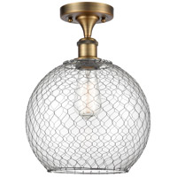 Innovations Lighting 516-1C-BB-G122-10CSN-LED Large Farmhouse Chicken Wire LED 10 inch Brushed Brass Semi-Flush Mount Ceiling Light, Ballston