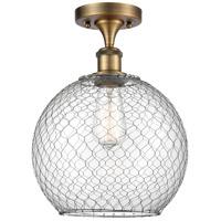 Innovations Lighting 516-1C-BB-G122-10CSN-LED Large Farmhouse Chicken Wire LED 10 inch Brushed Brass Semi-Flush Mount Ceiling Light, Ballston