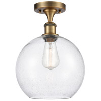 Innovations Lighting 516-1C-BB-G124-10-LED Large Athens LED 10 inch Brushed Brass Semi-Flush Mount Ceiling Light, Ballston