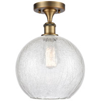 Innovations Lighting 516-1C-BB-G125-10-LED Large Athens LED 10 inch Brushed Brass Semi-Flush Mount Ceiling Light, Ballston