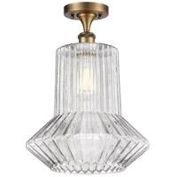 Innovations Lighting 516-1C-BB-G212-LED Springwater LED 12 inch Brushed Brass Semi-Flush Mount Ceiling Light, Ballston