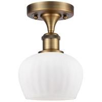 Innovations Lighting 516-1C-BB-G91-LED Fenton LED 7 inch Brushed Brass Semi-Flush Mount Ceiling Light Ballston