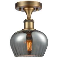 Innovations Lighting 516-1C-BB-G93-LED Fenton LED 7 inch Brushed Brass Semi-Flush Mount Ceiling Light Ballston