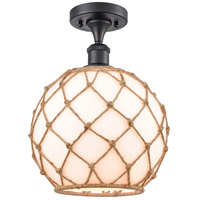Innovations Lighting 516-1C-BK-G121-10RB Large Farmhouse Rope 1 Light 10 inch Matte Black Semi-Flush Mount Ceiling Light Ballston