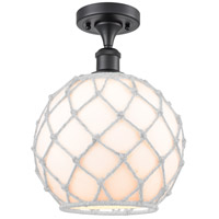 Innovations Lighting 516-1C-BK-G121-10RW Large Farmhouse Rope 1 Light 10 inch Matte Black Semi-Flush Mount Ceiling Light Ballston