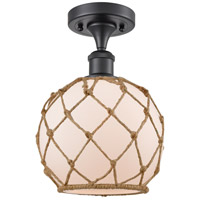 Matte Black Farmhouse Rope Semi-Flush Mounts