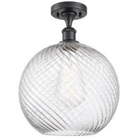 Innovations Lighting 516-1C-BK-G1214-12-LED X-Large Twisted Swirl LED 12 inch Matte Black Semi-Flush Mount Ceiling Light Ballston