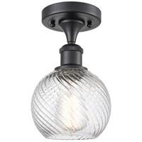 Innovations Lighting 516-1C-BK-G1214-6-LED Small Twisted Swirl LED 6 inch Matte Black Semi-Flush Mount Ceiling Light Ballston