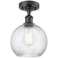 Innovations Lighting 516-1C-BK-G1214-8 Twisted Swirl 1 Light 8 inch Matte Black Semi-Flush Mount Ceiling Light Ballston