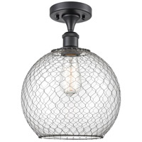Innovations Lighting 516-1C-BK-G122-10CBK Large Farmhouse Chicken Wire 1 Light 10 inch Matte Black Semi-Flush Mount Ceiling Light Ballston