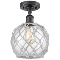 Innovations Lighting 516-1C-BK-G122-8RW-LED Farmhouse Rope LED 8 inch Matte Black Semi-Flush Mount Ceiling Light Ballston